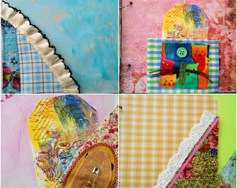 10 Hand made Fabric pockets, Boho, Vintage, journal pockets, corner and front pockets for junk journals, scrapbook and planners.