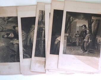 Art print engravings Peterson's Magazine 1800s lot 7 Victorian Mixed Media Art Collage Supplies Paper Ephemera