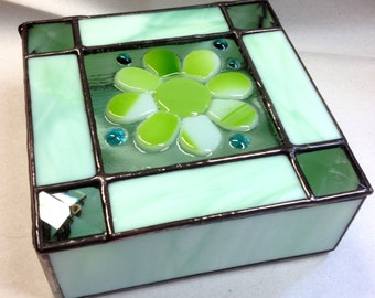 Contemporary Fused Stained Glass Jewelry Box - Flower Power Box - Retro (PLG025)