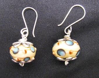 Unique Cream Lamp work Bead Earrings