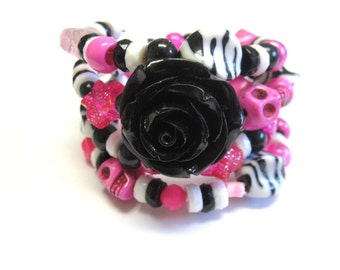 Sugar Skull Bracelet Day Of The Dead Jewelry Wrap Hot Pink White Black Rose