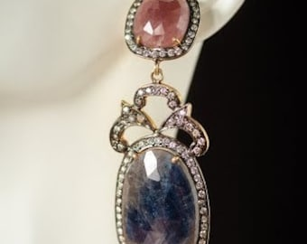 Pink and Blue Sapphire Gem Slice Earrings