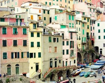 """Italy travel photography - colorful wall art - pastel home decor - architecture art - pink yellow green - wooden boats   """"So Many Windows"""""""