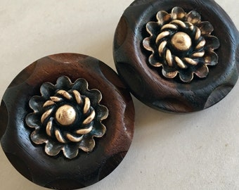 Vintage Carved Wood Buttons with Brass Flower Centers