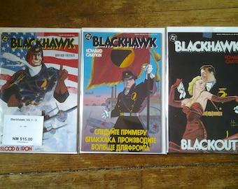 Blackhawk; Vol 2, 1 through 3 (full limited series) Copper Age Comic Book Lot.  NM+ (9.6). 1988.  DC Comics