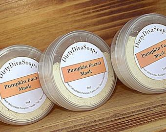 SALE All Natural Pumpkin Facial Clay Mask, 3 oz Organic Skin Care, All Skin Types , Natural Skin Care