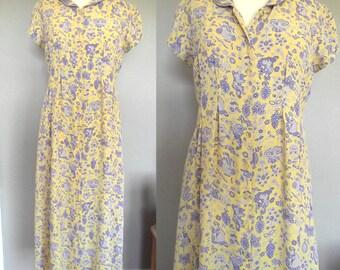 April Cornell Vintage Grunge Maxi Dress // Yellow with Lavender Floral Design // Size Medium