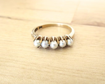 14k Gold Seed Pearl Ring - Antique Jewelry Hand Estate Mid Century Victorian Art Deco 1920s 5 five claw setting