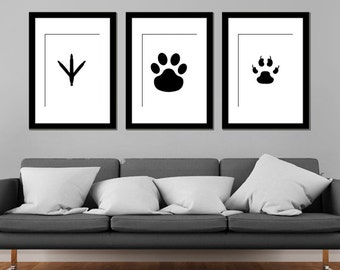 Minimalist Black and White Animal Footprints Cat Dog Chicken - Set of 3