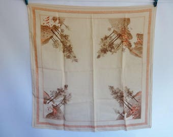Vintage two tone Scarf with Tree design 76cm x 78cm