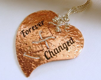 Copper and Sterling Silver Broken Mended Heart Pendant Necklace, Mixed Metal Heart Pendant