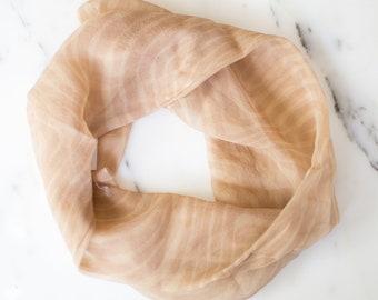 Glenty 100% Silk Scarf with Geometric Design Beige Infinty Scarf