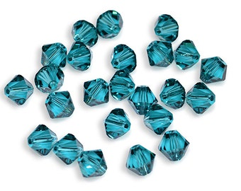 Swarovski Crystal Bicone Blue Zircon Beads 5301/5328- Available in 4mm, 6mm