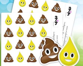 Potty Training Emoji Stickers   32 Matte or Glossy Stickers - MN064
