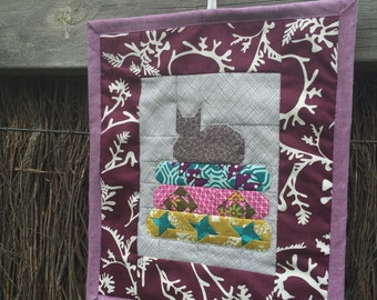 Little Helper Cat on Blue Fabric Mini Quilt