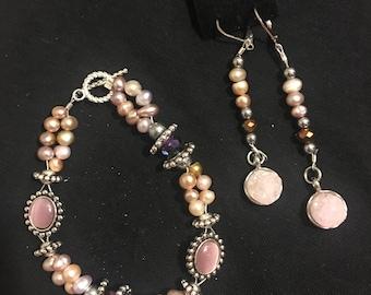 Genuine rose quartz and Swarovski bracelet set