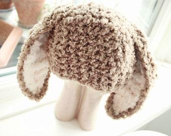 3 to 6m Baby Bunny Hat Infant Beanie Bunny Prop Crochet Baby Hat Bunny Ears Girl Boy Hat Brown Prop Baby Gift Crochet Baby Gift