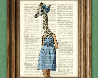 Giraffe girl in a pretty blue dress Safari Girls Collection illustration beautifully upcycled dictionary page book art print