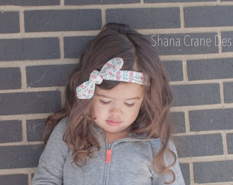 Pink Flowers Knotted Fabric Headband . Toddler/Girls Size
