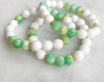 "White Agate and Mint ""Tie Dye"" Bracelet"
