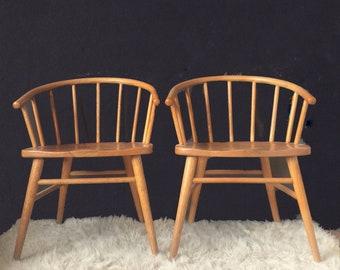 Vintage Danish Modern Windsor Oak Chairs in the style of Ekstroms Arka Chair