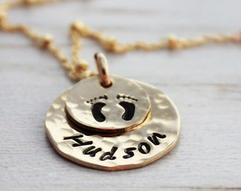 push present • baby footprint necklace • baby name •  gold name plate • maternity gift • infant loss jewelry • personalized jewelry