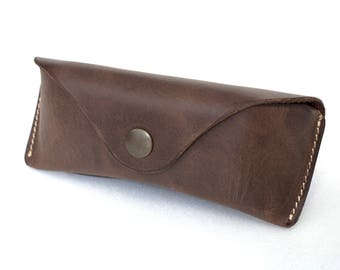 Glasses case for RayBan Aviators waxed leather espresso brown handmade by Celyfos® sunglasses case eyeglass case