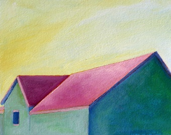 barn painting / original oil painting giclee print / Green Barn / print of oil painting/ daily painting