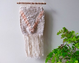 SALE - Woven wall hanging in cream/linen, peach/ tapestry/ wall art/ home decor/ nursery decor/ nursery art/ baby gift