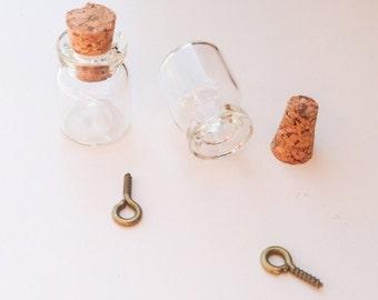 Mini Cork glass vial Wunschfläschen