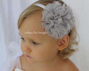Grey headbands, grey flower girl headband, grey wedding headband, satin headband, toddler headband white and grey headband gray headband
