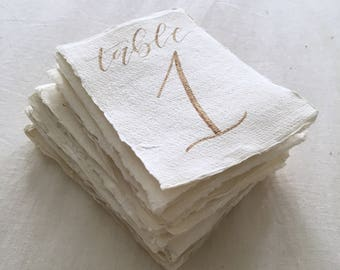 Table Numbers on Handmade Paper // Wedding Table Numbers // Calligraphy Numbers