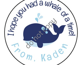 Personalized Whale Party Blue Whale Stickers and Labels // Printed & Shipped or DIY Printable Files