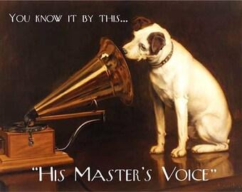 HMV Gramophone Dog, Music, Pub & Restaurant Master's Voice, Small Metal/Tin Sign