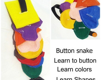 Felt learn to button snake - learning color - educational toy - toy for autism - toddler learning activity for busy bag- preschool toy #3850