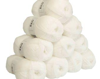 10 x 50g knitted Yarn eko fil, #016 Nature