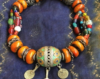 BerberTagmout Enamel Eggbead with Coins and Colorful Resin, Glass & Various Beads adjustable dark red/brown Cord, Moroccan Sahara