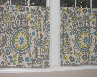 """Premier Prints Suzani Cafe Curtains 80"""" wide x 30"""" long Summerland Powder Blue Grey Gray Wisteria"""