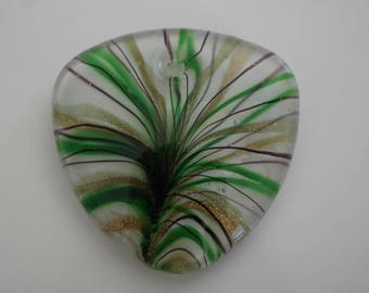 Large green pendant, 5 cm Lampwork Murano glass
