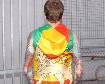 Ethiopian Flag Hoodie - lion of judah mens clothing African mens jacket - rasta - green red - windbreaker vest - handmade upcycled clothing