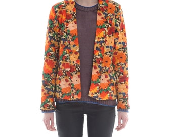 Liberty Open Jacket in Abstract Floral Print by Megan Crook