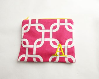 Hot Pink Make up Bag - in Gotcha Geometric - Monogrammed Zipper Pouch - Personalized Bridesmaid Clutch Bags - Small