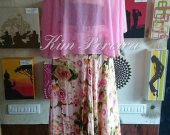 Shaded Cape with Floral Printed Skirt and Blouse
