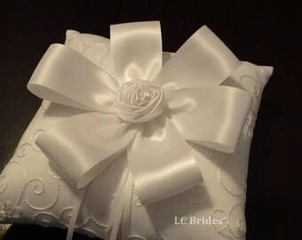 Ring Bearer Pillow, Wedding Ring Bearer Pillow, White, Flower, Custom