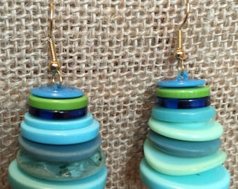 Blue and Green Vintage Button Earrings * trendy colors * suitable for any occasion
