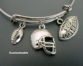 Football Bracelet / Football Bangle / Football Mom Bracelet / Football Fan Bangle / Football Gift / Customizable Bracelet /  Football Lover
