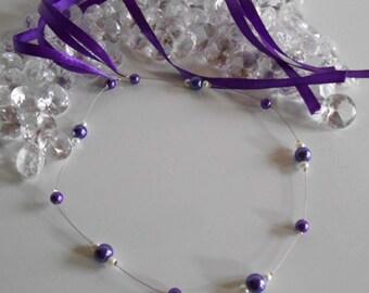 Simple and elegant wedding headband purple and white pearls