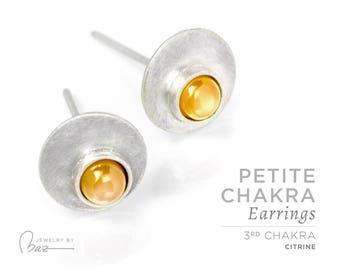 Citrine | Petite Chakra Stud Earrings | 3rd Chakra | Yellow | Solar Plexus Chakra | Brushed Satin Fine Silver Gemstone Cabochon Yoga Jewelry
