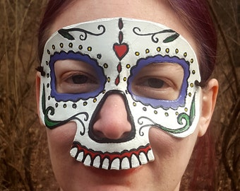 Sugar Skull Mask - Hand Tooled and Hand Painted Leather Mask