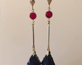 Handmade Art Deco Style Dropper Earrings, Dropper Earrings, Crystal Earrings, Black Earrings, Art Deco Style Earrings, Drop Earrings
